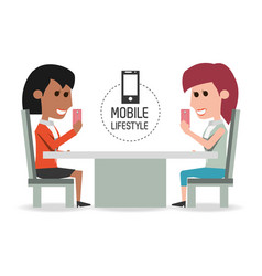 women in the restaurant with smartphone in the vector image vector image