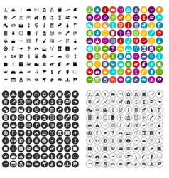 100 history museum icons set variant vector image