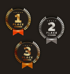 1st 2nd 3rd place logo with laurels and ribbon vector