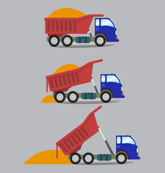 A truck unloads cargo in series vector