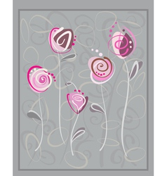 Abstract pink roses postcard vector image