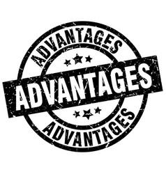 Advantages round grunge black stamp vector
