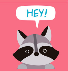 Animal raccoon cartoon raccoon say hey background vector