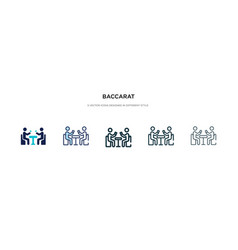 Baccarat icon in different style two colored vector