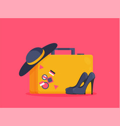 baggage luggage suitcases on background flat vector image