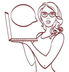 Business woman with laptop Pop art style eps 10 vector