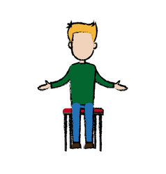 Businessman sitting office chair cartoon calm pose vector