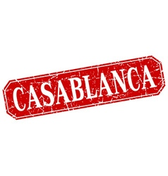 Casablanca red square grunge retro style sign vector