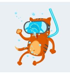 Cat diver vector
