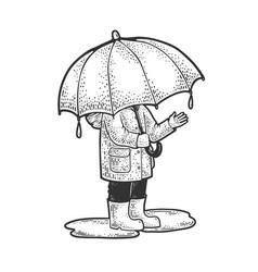 Child under huge umbrella sketch vector