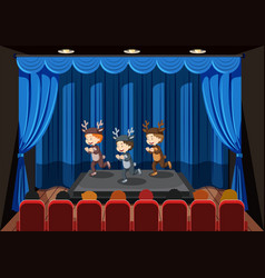 children performing on stage vector image