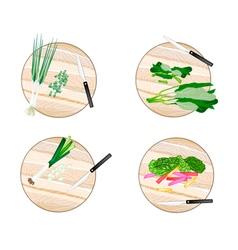 Chinese Broccoli Rainbow Swiss Chards Leek vector