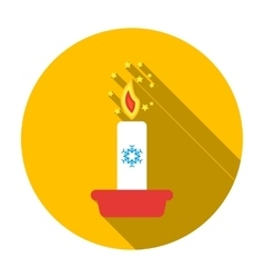 Christmas candle with snowflake icon in flat style vector image