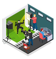 Cinema motion capture isometric composition vector