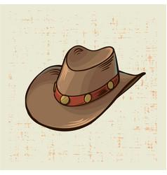 cowboy hat vintage style on grunge vector image