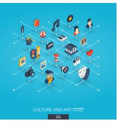 Culture art integrated 3d web icons digital vector