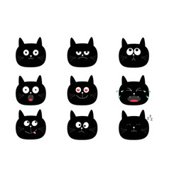 Cute black cat set funny cartoon characters vector