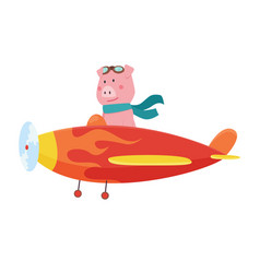 cute pig wearing aviator goggles flying an vector image