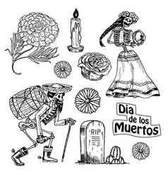 day dead mexican national holiday with the vector image
