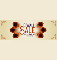 Decorative happy diwali sale and promotion banner vector