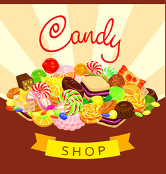 delicious candy shop concept background cartoon vector image