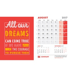 Desk Calendar Template for 2017 Year August Design vector