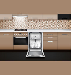 Dishwashing machine realistic interior vector
