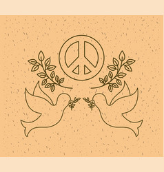 doves flying with world peace symbol vector image