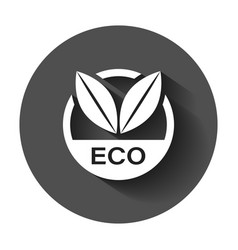 Eco label badge icon in flat style organic vector