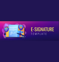 electronic signature concept banner header vector image