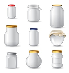 Empty glass jars vector image