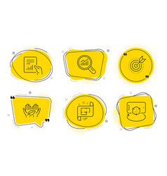Fair trade target purpose and document icons set vector