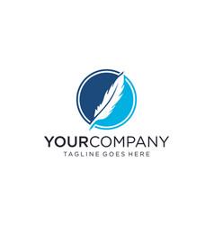 Feather pen for logo designs editable vector