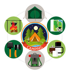 flat summer camping round concept vector image