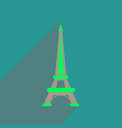Flat web icon with long shadow eiffel tower vector