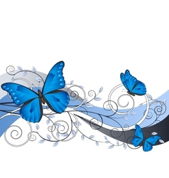 floral with butterflies vector image