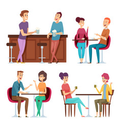 friends meeting happy group people relaxing in vector image