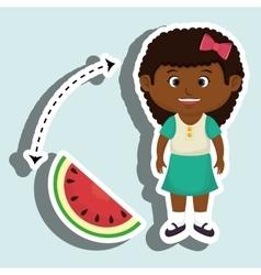 Girl cartoon sliced watermelon vector