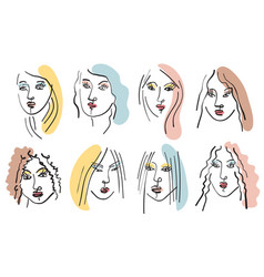 Girl face brush line drawing sketch vector