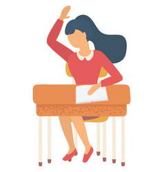 girl sitting at table with notebook school vector image