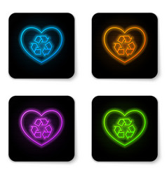 glowing neon eco friendly heart icon isolated on vector image