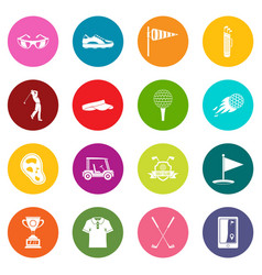 golf items icons many colors set vector image
