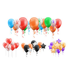groups balls flying under ceiling isolate decor vector image