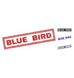 Grunge blue bird textured rectangle stamp seals vector