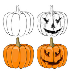 halloween pumpkin black and white and colored vector image