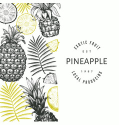 Hand drawn sketch style pineapple banner organic vector