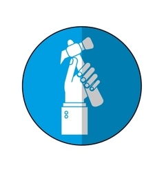 hand holding hammer tool construction-blue circle vector image