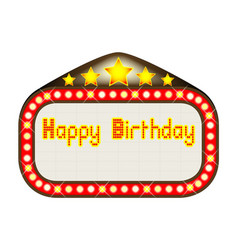 happy birthday theatre marquee vector image