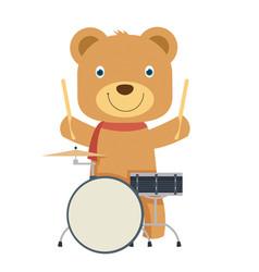 happy cute brown teddy bear playing drum in flat vector image
