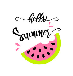 hello summer with a slice watermelon banner vector image